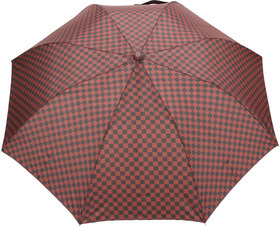 FabSeasons Maroon Unisex Checkered Printed, 2 fold Fancy Automatic Umbrella for Rains, Summer & All Year Use