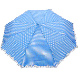 FabSeasons Blue Dot Printed with frills, 3 fold fancy Automatic Umbrella for Rains, Summer & All Year Use