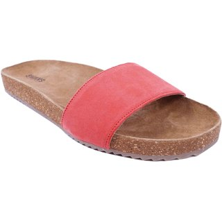Red Colour Womens Leather Flip Flops - SWANSIND