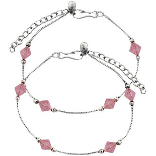 Stunning Beaded Pink Anklets