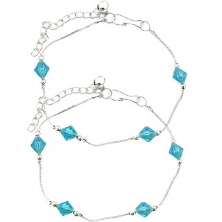 Stunning Beaded Blue Anklets