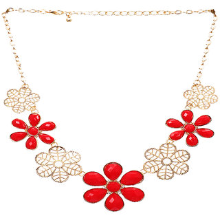 Rizir Fashion Women'S Red And Golden Floral Necklace Stones And Metal Alloy (Pack Of 1)