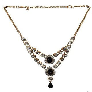Rizir Fashion Women'S Winsome Silver Stoned Necklace Stones And Metal Alloy (Pack Of 1)