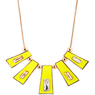 Rizir Fashion Women'S Yellow Modish Golden Collar Necklace Metal Alloy And Enamel (Pack Of 1)