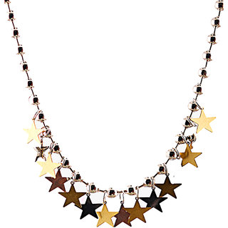 Rizir Fashion Women'S Golden Stylish Golden Star Charm Necklace Metal Alloy (Pack Of 1)