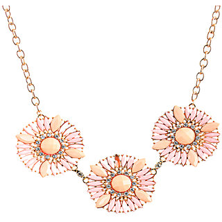 Rizir Fashion Women'S Golden Radiant Flower Collar Necklace Metal Alloy And Stones (Pack Of 1)