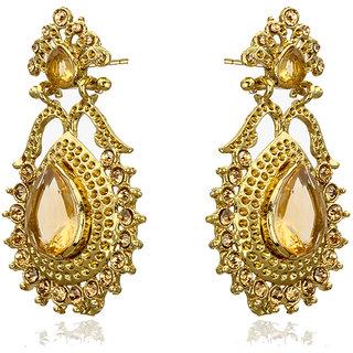 Rizir Fashion Women'S Gold Graceful Golden Drop Earrings Metal Alloy & Stones (Pack Of 1)