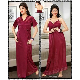 Womens 2pc Nighty  Over Coat  Bed Fun Set 205B Maroon Sleep  Robe Babydoll Bed