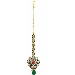 Anuradha Art Green Colour Very Classy Designer Wonderful Stylish Traditional Wedding/Bridal Mang Tikka For Women/Girls