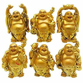 Set of 6 laughing Buddha for Wealth,Health and Goodluck