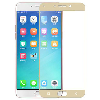 Max Pro Full Edge Tempered Glass For Oppo F1 Plus (Gold)(Full)