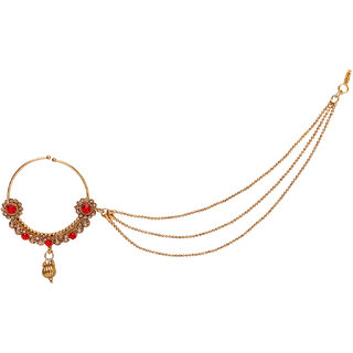 Jewels Gold Alloy Party Wear Fashionable Stylish Fancy Nath Set For Women  Girls