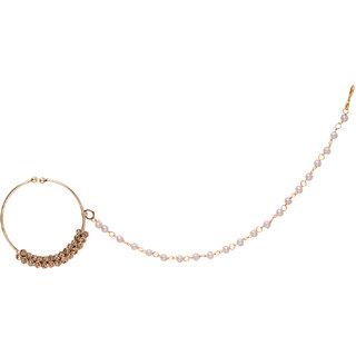 Jewels Gold Alloy Party Wear  Wedding Stylish Fancy Nath Set For Women  Girls