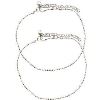 Stunning Beaded Metal silver Anklets