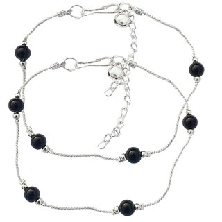 SilverBlack Alloy Silver Plated Anklets For Women
