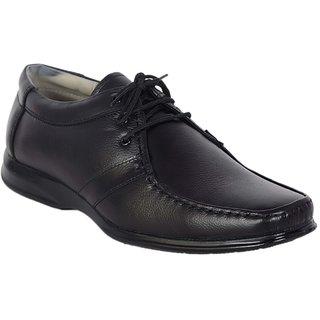 Shoebook Men's Black Leather Valuable Lace Up