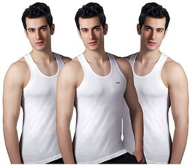 Lux Men's White Vests (Pack of 3)