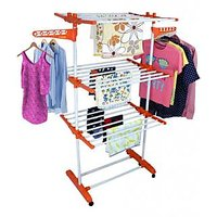 Jumbo Orange Cloth Drying Stand Steel Hanger Stainless Single Pole Large  Mild Powder Coated Premium Quality with wheel