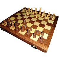 Chess Box With Chess Pieces In Sheesham Wood (Large)