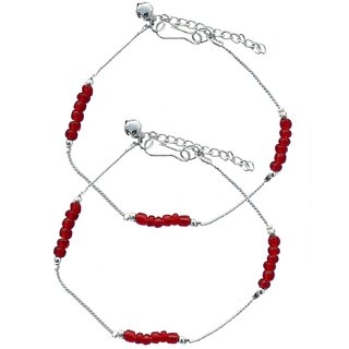 Stunning Beaded Red Anklets