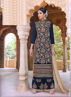 Designer Embroidery Suits + Georgate + Semi-Stitch + Plazo Embroidery + Dupatta With Lace (Unstitched)
