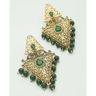 659446b42 Buy Voylla Traditional Earrings Dangled With Green Drops For Women ...