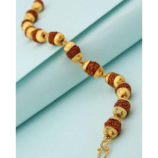 c5ae1571f442c Voylla Rudraksha Beads Studded Gold Plated Bracelet For Men