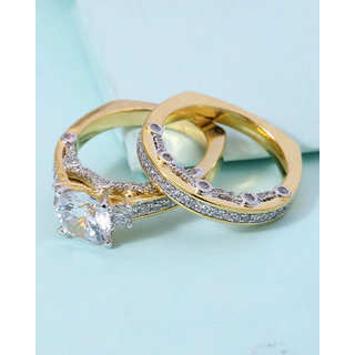 Voylla Ring Combo Of 2 Embellished With CZ Stone For Women