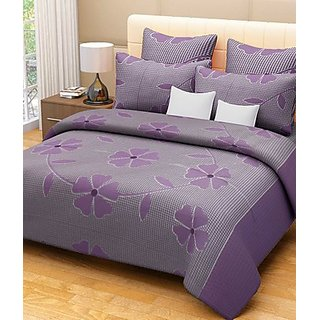 iLiv Cotton Purple Flowers And Checks Double Bed Sheet With 2 Pillow Covers