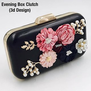 Black Colour Fashionable Evening Box Clutch in 3D Design  For girls By SHIVANI COLLECTION