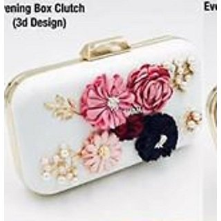 White Colour Fashionable Evening Box Clutch in 3D Design  For girls By SHIVANI COLLECTION