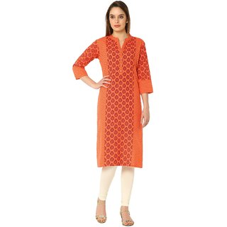 Soch Orange Printed Cotton Kurti