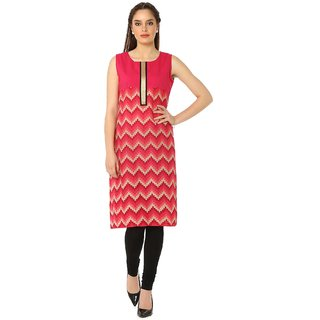 Soch Dark Pink Printed Cotton Kurti