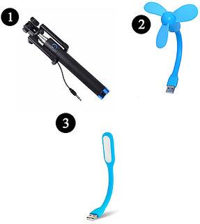 PE Combo of Aux Selfie Stick + USB Fan + USB light