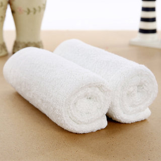 Cotton WHITE Plain Face Towels - 2pcs
