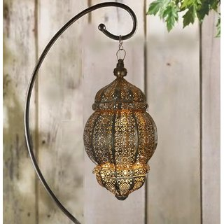 Anasa Decorative Hanging Metal Moroccan Lantern Lamp Black 20 Inch
