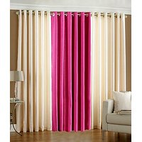 ILiv Plain Eyelet Curtain 9 Feet ( Set Of 3 )Cream & Pink