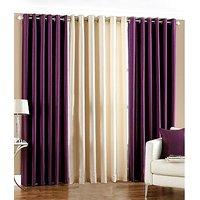 ILiv Plain Eyelet Curtain 7 Feet ( Set Of 3 )Purple & Cream