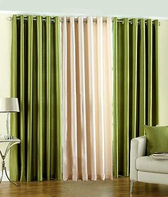 iLiv Plain Eyelet Semi Transparent Curtain 7 Feet  Set Of 3 - 2green1cream7ft