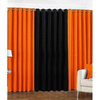 iLiv Plain Eyelet Curtain 9 Feet ( Set Of 3 )Orange & Black