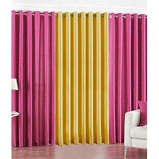iLiv Plain Eyelet Curtain 9 Feet ( Set Of 3 )Pink & Yellow
