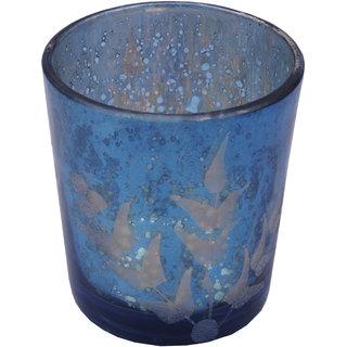 Anasa Decorative Mercury glass Finish Votive Tealight Candle Holder Blue 3.2 Inch