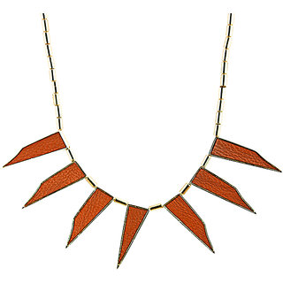 Rizir Fashion Women'S Red Modish Golden Collar Necklace Metal Alloy And Enamel (Pack Of 1)