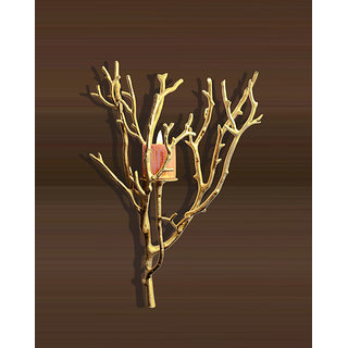 Anasa Forest Collection of Candle Holders Wall Hanging Candle Stand Holder Golden European Iron Handmade Metal Tealight Candle Holder Decorative Gift Item Home Decor Showpiece free candlestick