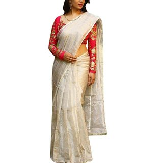 84585cfb4b Trilok Fashion Women's Off white Plain Chanderi Cotton Saree with Blouse(Pink-PD151SR2591).  Rs 599Rs 999