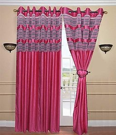 iLiv Polyester Multicolor Stripes Eyelet Door Curtain-1crush3dPink7ft