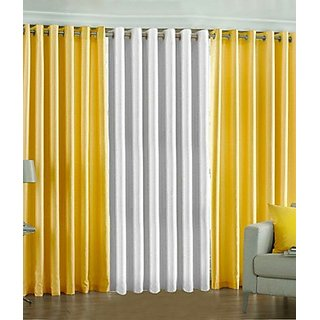iLiv Plain Eyelet Curtain 9 Feet ( Set Of 3 ) Yellow  White