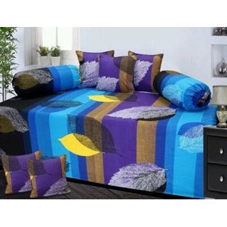 Attractivehomes beautiful cotton diwan set with 5 cushion covers 2 bolster covers