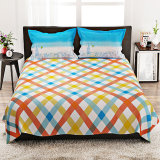 STELLAR HOME LILLY BED LINEN QUEEN - 8100011 MUTLI Double Bed Sheet With 2 Pillow Covers