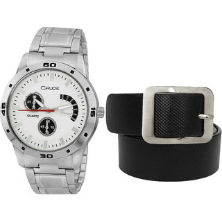 Crude Combo of  White Dial Watch-rg707 With Black Leather Belt